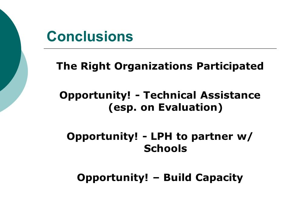 Conclusions The Right Organizations Participated Opportunity.
