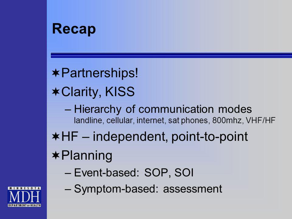 Recap Partnerships! Clarity, KISS –Hierarchy of communication modes landline, cellular, internet, sat phones, 800mhz, VHF/HF HF – independent, point-t