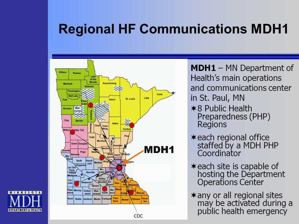 Regional HF Communications MDH1 8 Public Health Preparedness (PHP) Regions each regional office staffed by a MDH PHP Coordinator each site is capable