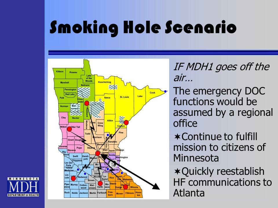 Smoking Hole Scenario IF MDH1 goes off the air… The emergency DOC functions would be assumed by a regional office Continue to fulfill mission to citiz