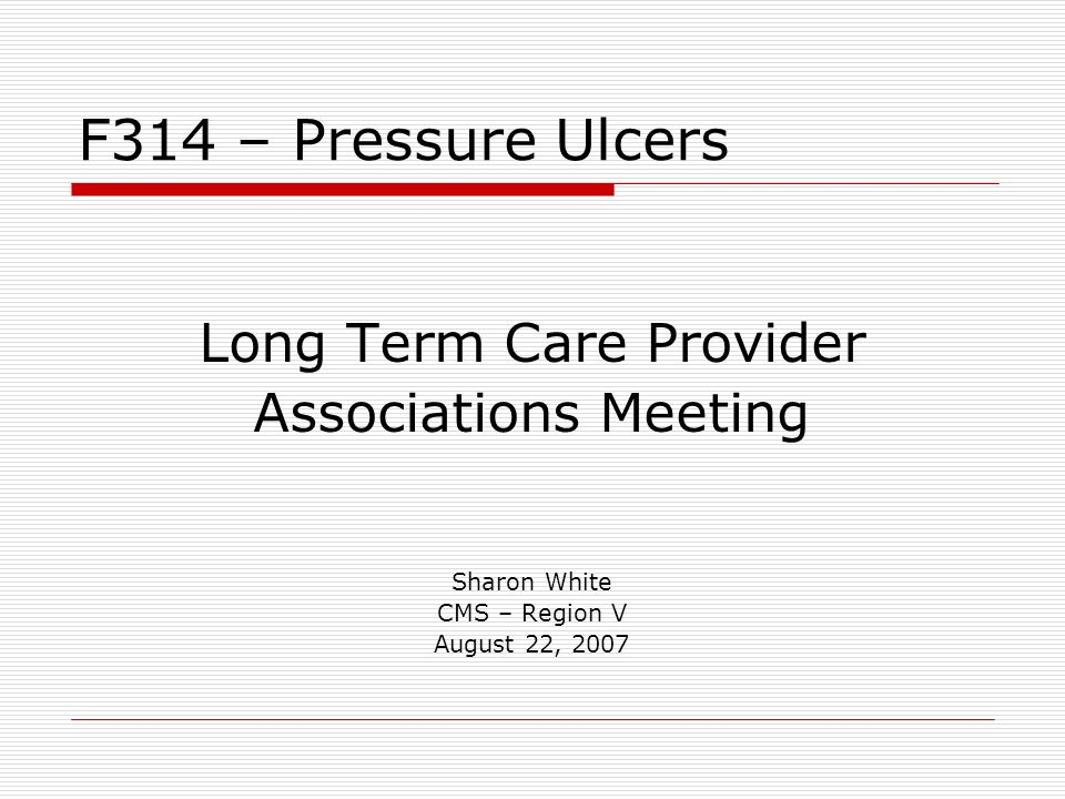 Long Term Care Provider Associations Meeting Sharon White CMS – Region V August 22, 2007 F314 – Pressure Ulcers