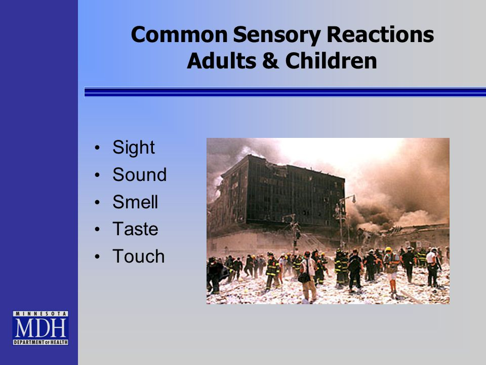 Common Sensory Reactions Adults & Children Sight Sound Smell Taste Touch