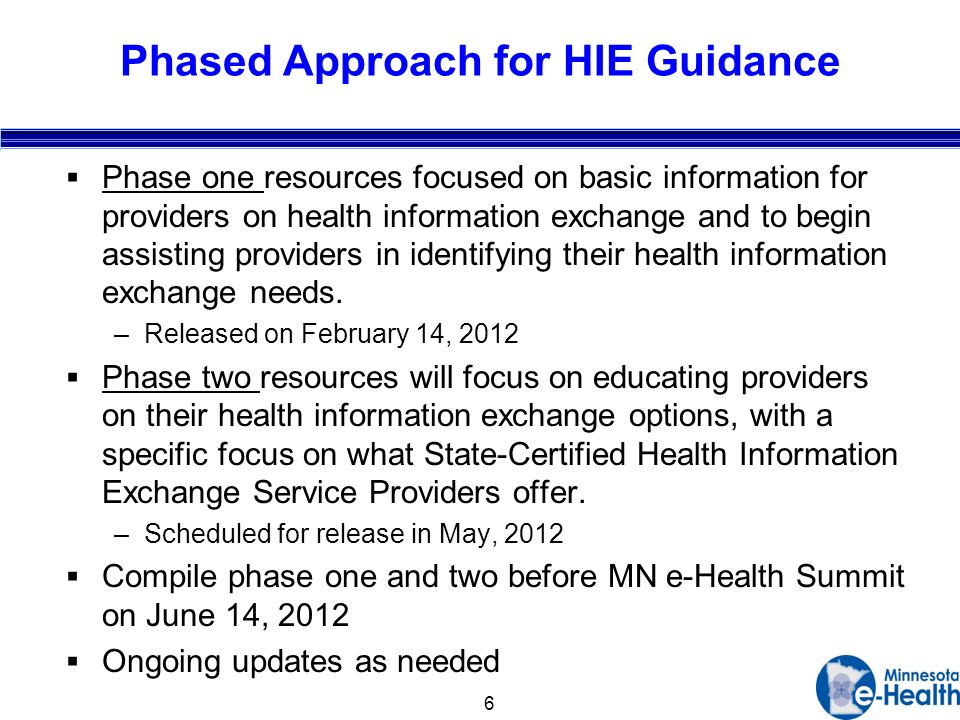 6 Phased Approach for HIE Guidance Phase one resources focused on basic information for providers on health information exchange and to begin assisting providers in identifying their health information exchange needs.