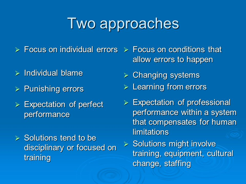 Two approaches Focus on individual errors Focus on individual errors Individual blame Individual blame Punishing errors Punishing errors Expectation of perfect performance Expectation of perfect performance Solutions tend to be disciplinary or focused on training Solutions tend to be disciplinary or focused on training Focus on conditions that allow errors to happen Focus on conditions that allow errors to happen Changing systems Changing systems Learning from errors Learning from errors Expectation of professional performance within a system that compensates for human limitations Expectation of professional performance within a system that compensates for human limitations Solutions might involve training, equipment, cultural change, staffing Solutions might involve training, equipment, cultural change, staffing