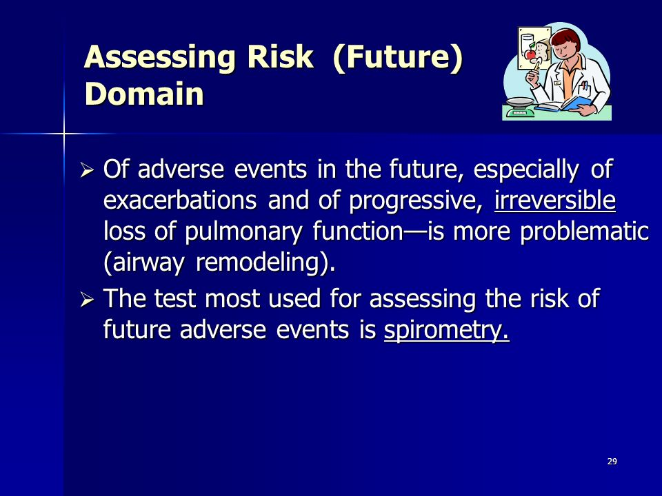 29 Assessing Risk (Future) Domain Of adverse events in the future, especially of exacerbations and of progressive, irreversible loss of pulmonary func