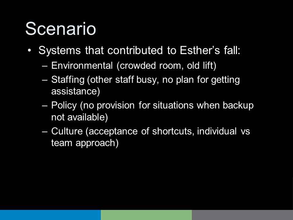Scenario Systems that contributed to Esthers fall: –Environmental (crowded room, old lift) –Staffing (other staff busy, no plan for getting assistance