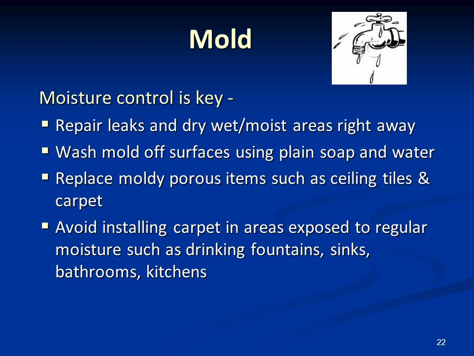 22 Mold Mold Moisture control is key - Moisture control is key - Repair leaks and dry wet/moist areas right away Repair leaks and dry wet/moist areas