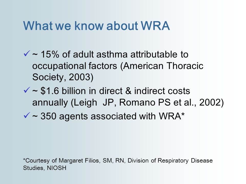 What we know about WRA ~ 15% of adult asthma attributable to occupational factors (American Thoracic Society, 2003) ~ $1.6 billion in direct & indirec