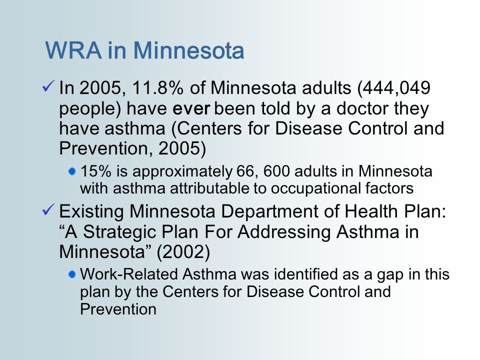 WRA in Minnesota In 2005, 11.8% of Minnesota adults (444,049 people) have ever been told by a doctor they have asthma (Centers for Disease Control and