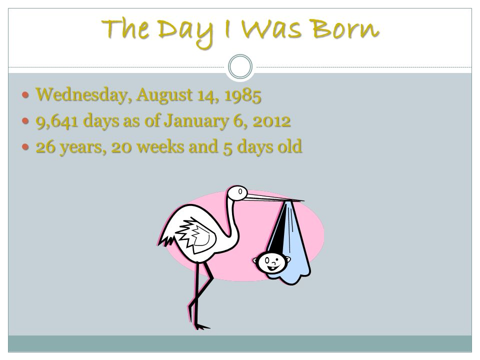 The Day I Was Born Wednesday, August 14, 1985 Wednesday, August 14, 1985 9,641 days as of January 6, 2012 9,641 days as of January 6, 2012 26 years, 20 weeks and 5 days old 26 years, 20 weeks and 5 days old