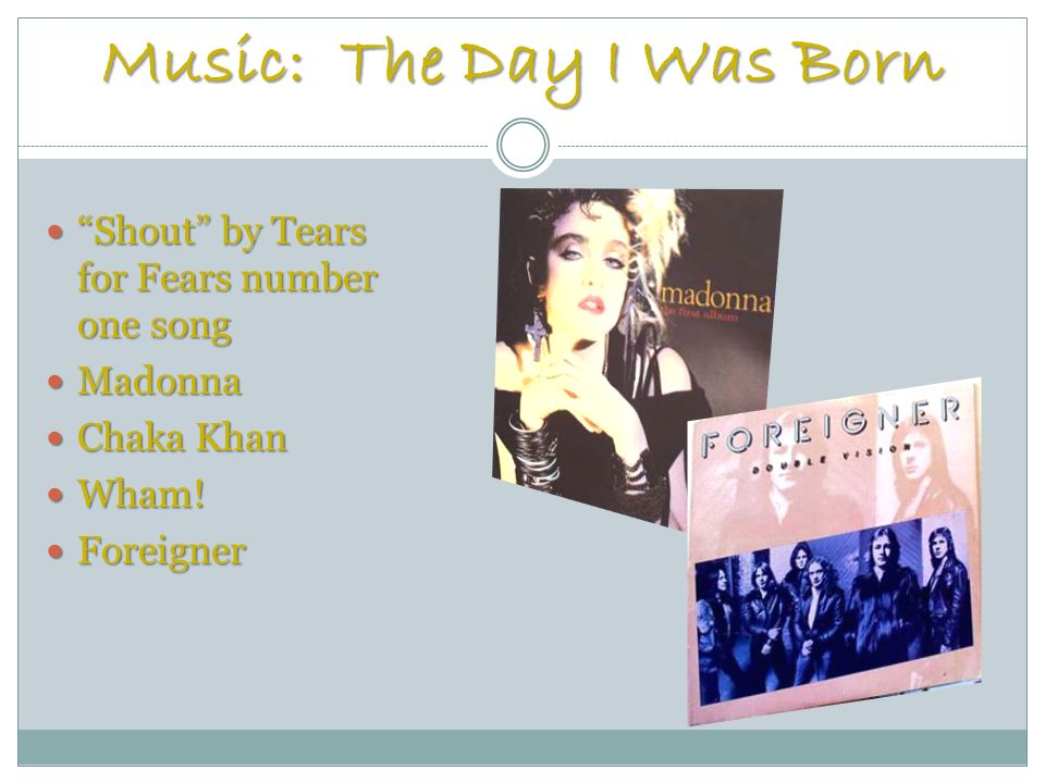 Music: The Day I Was Born Shout by Tears for Fears number one song Shout by Tears for Fears number one song Madonna Madonna Chaka Khan Chaka Khan Wham.