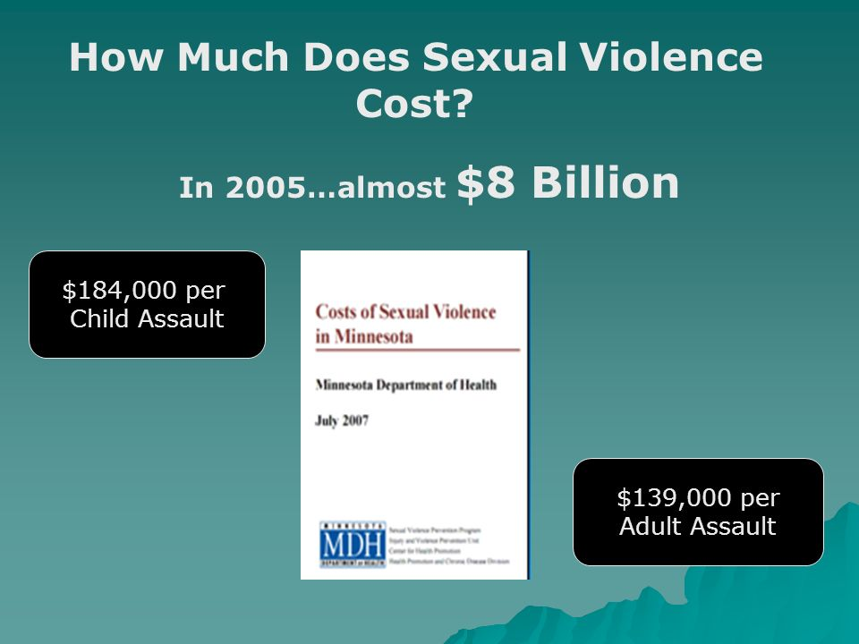 How Much Does Sexual Violence Cost? In 2005…almost $8 Billion $184,000 per Child Assault $139,000 per Adult Assault