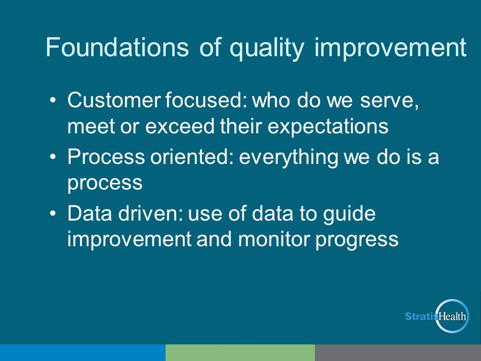Foundations of quality improvement Customer focused: who do we serve, meet or exceed their expectations Process oriented: everything we do is a proces