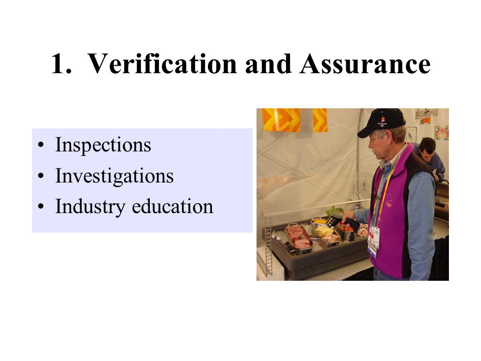 1. Verification and Assurance Inspections Investigations Industry education