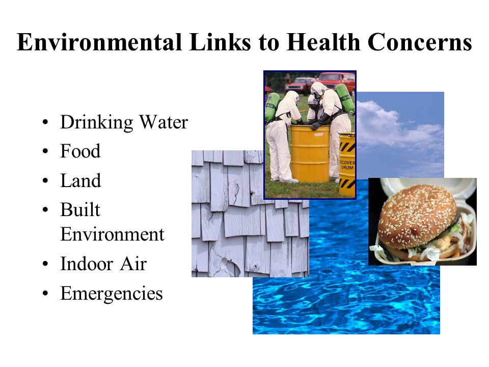 Environmental Links to Health Concerns Drinking Water Food Land Built Environment Indoor Air Emergencies