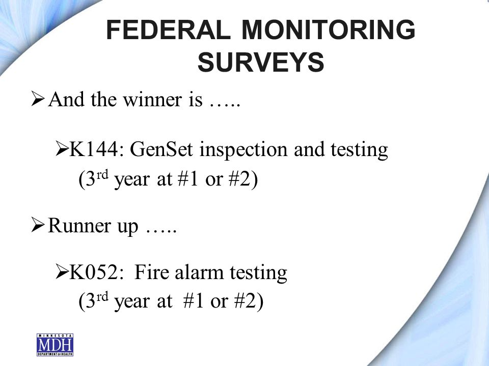FEDERAL MONITORING SURVEYS And the winner is …..