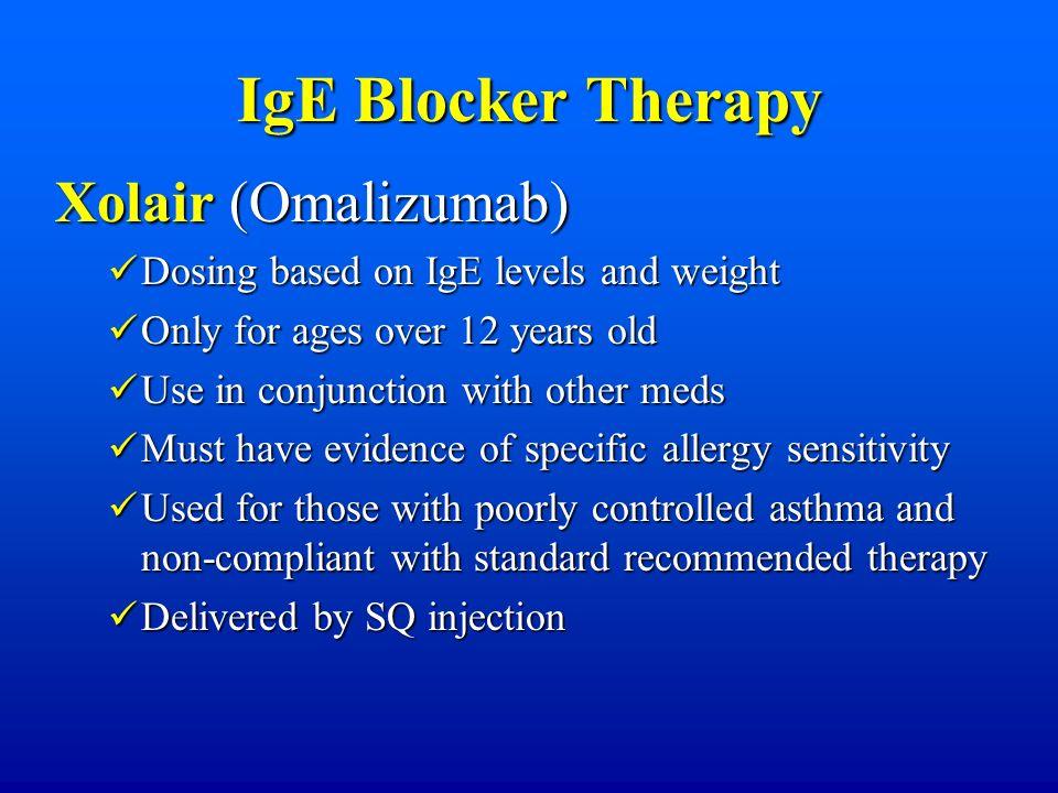 IgE Blocker Therapy Xolair (Omalizumab) Dosing based on IgE levels and weight Dosing based on IgE levels and weight Only for ages over 12 years old On