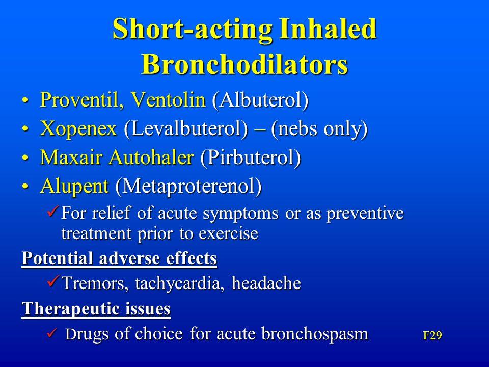 Short-acting Inhaled Bronchodilators Proventil, Ventolin (Albuterol) Proventil, Ventolin (Albuterol) Xopenex (Levalbuterol) – (nebs only) Xopenex (Lev