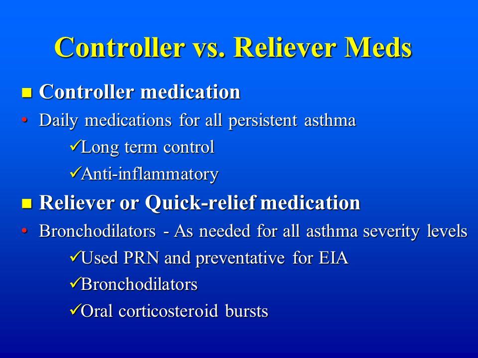 Controller vs. Reliever Meds Controller medication Controller medication Daily medications for all persistent asthma Daily medications for all persist