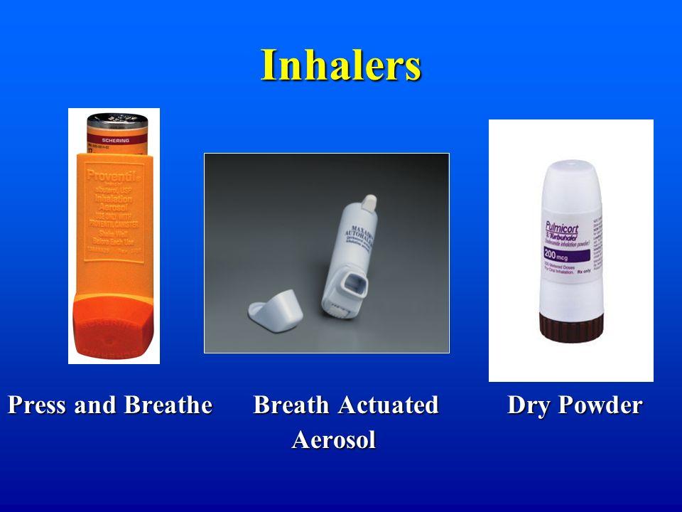 Inhalers Press and Breathe Breath Actuated Dry Powder Aerosol Aerosol