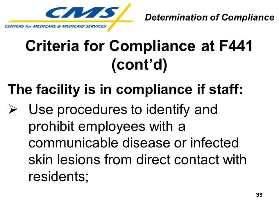 33 Criteria for Compliance at F441 (contd) The facility is in compliance if staff: Use procedures to identify and prohibit employees with a communicab