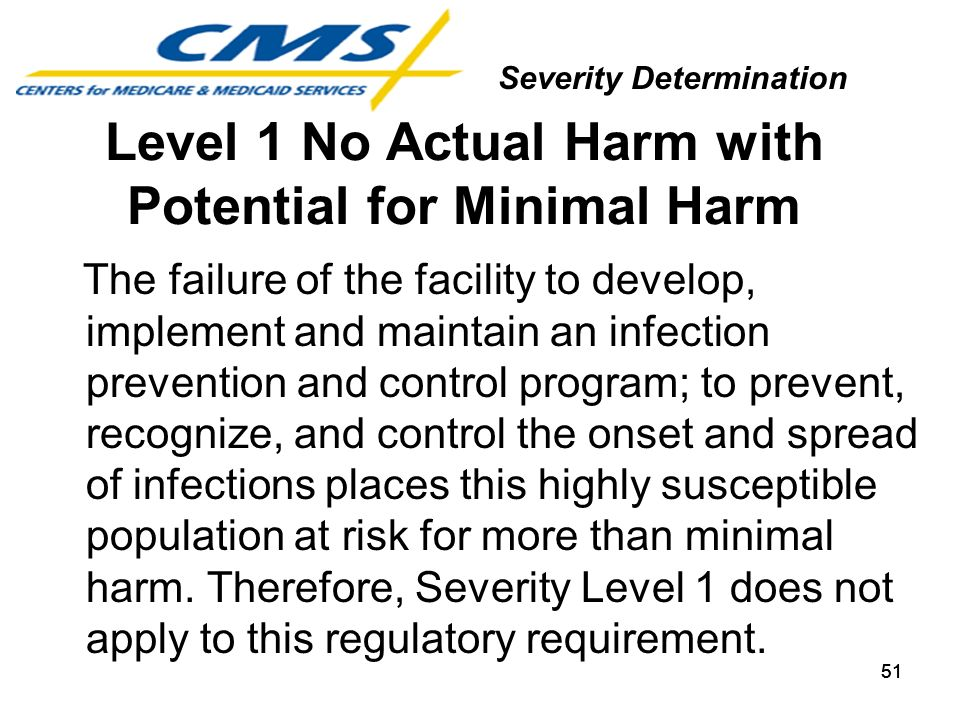 51 Level 1 No Actual Harm with Potential for Minimal Harm The failure of the facility to develop, implement and maintain an infection prevention and c