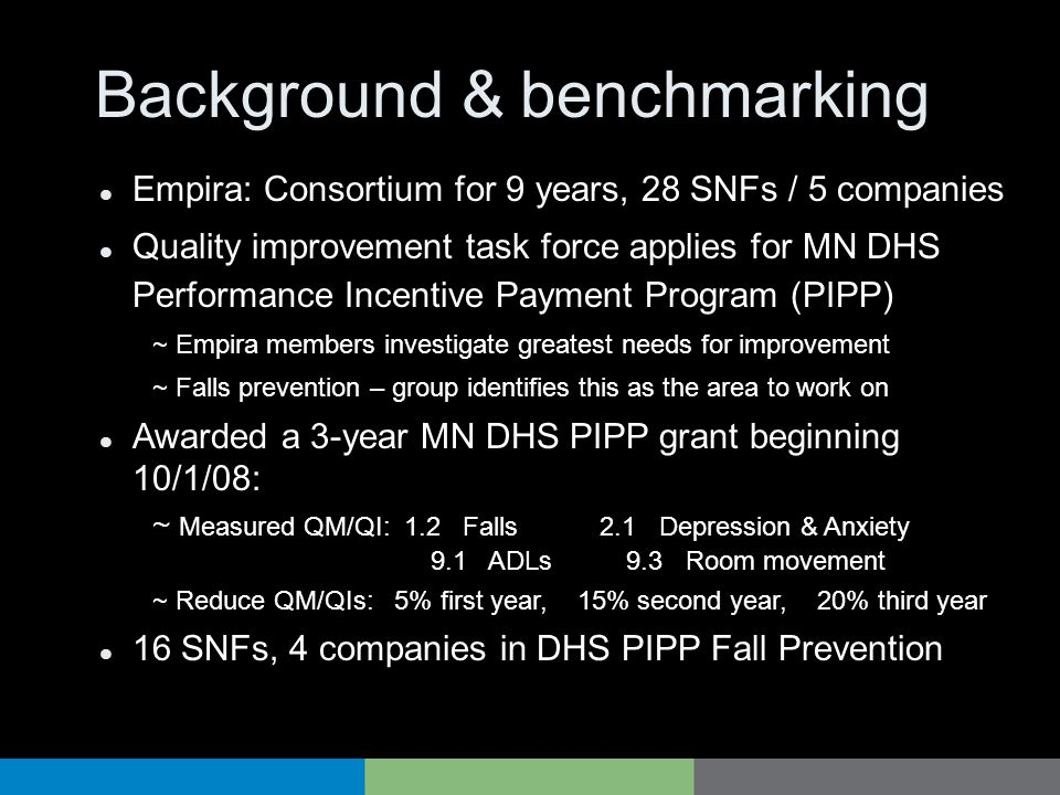 Background & benchmarking Empira: Consortium for 9 years, 28 SNFs / 5 companies Quality improvement task force applies for MN DHS Performance Incentiv
