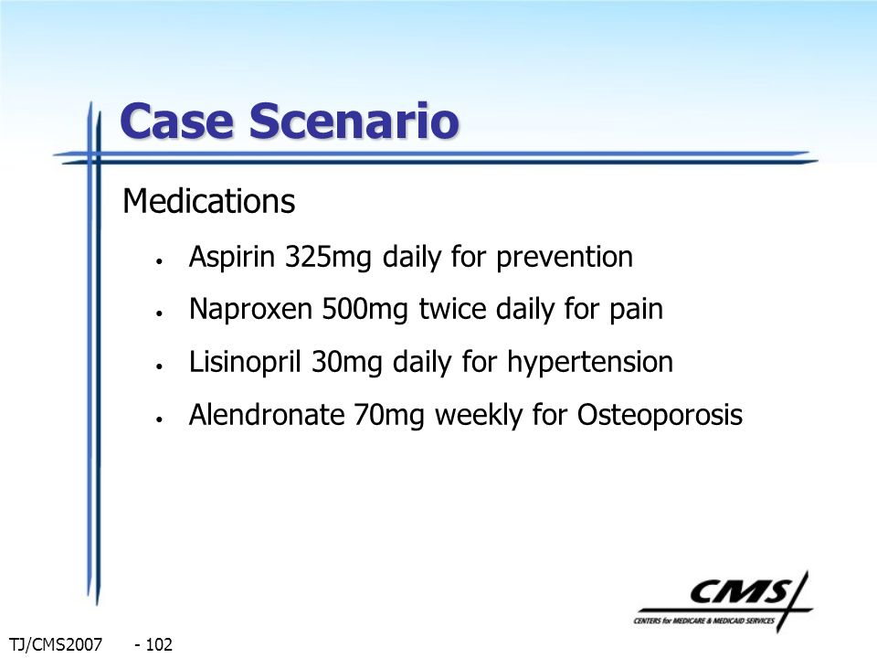 TJ/CMS2007 - 102 Case Scenario Medications Aspirin 325mg daily for prevention Naproxen 500mg twice daily for pain Lisinopril 30mg daily for hypertensi