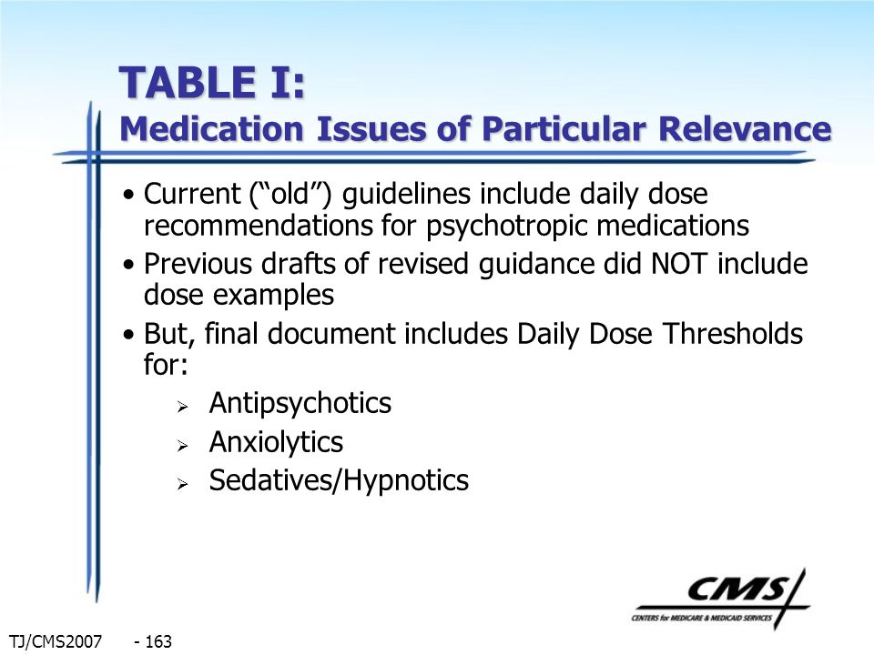 TJ/CMS2007 - 163 TABLE I: Medication Issues of Particular Relevance Current (old) guidelines include daily dose recommendations for psychotropic medic