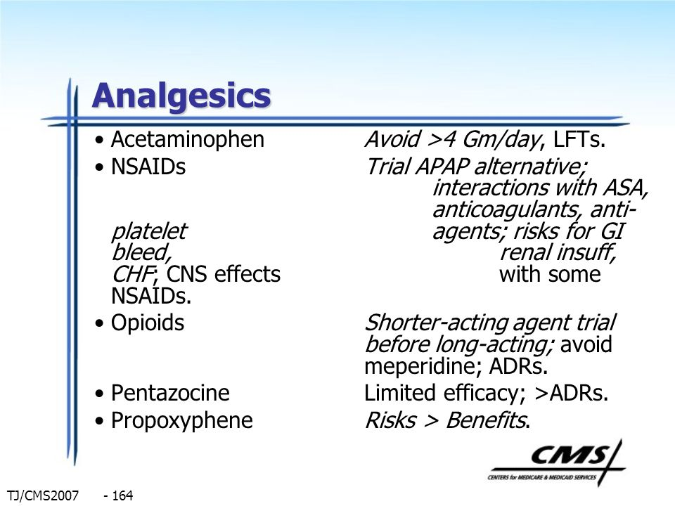 TJ/CMS2007 - 164 Analgesics AcetaminophenAvoid >4 Gm/day, LFTs. NSAIDsTrial APAP alternative; interactions with ASA, anticoagulants, anti- platelet ag