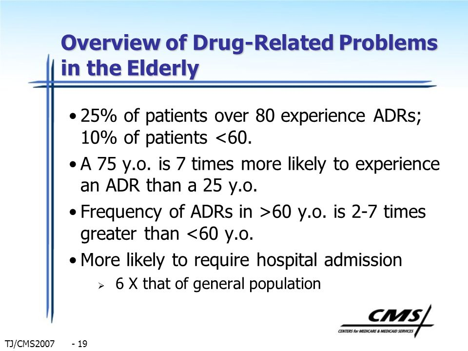 TJ/CMS2007 - 19 Overview of Drug-Related Problems in the Elderly 25% of patients over 80 experience ADRs; 10% of patients <60. A 75 y.o. is 7 times mo