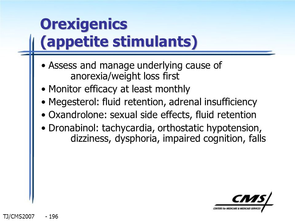 TJ/CMS2007 - 196 Orexigenics (appetite stimulants) Assess and manage underlying cause of anorexia/weight loss first Monitor efficacy at least monthly