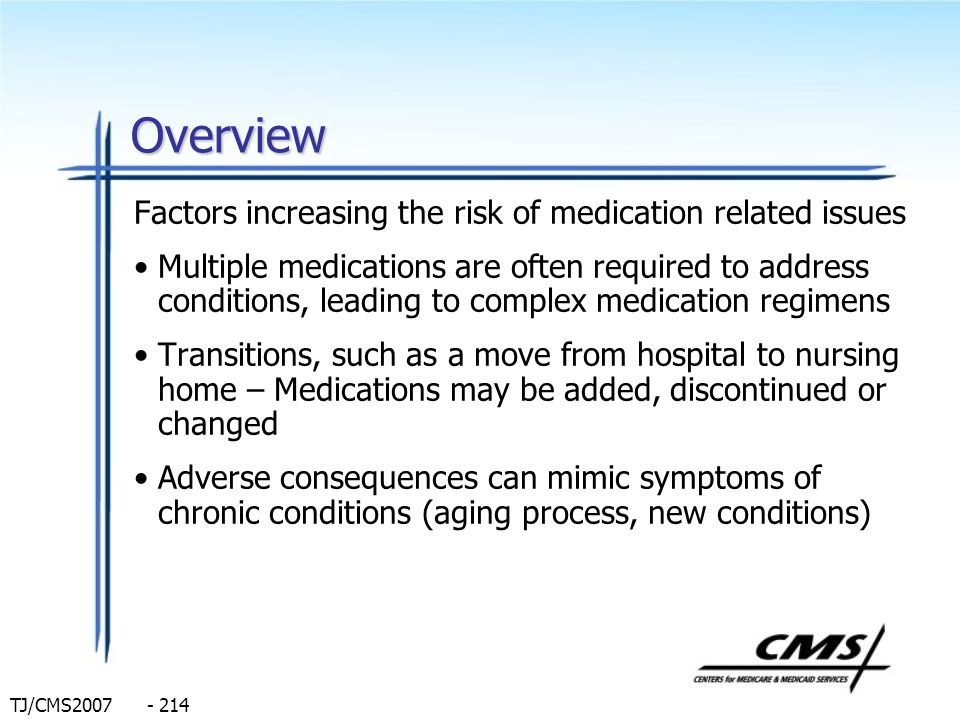 TJ/CMS2007 - 214 Overview Factors increasing the risk of medication related issues Multiple medications are often required to address conditions, lead