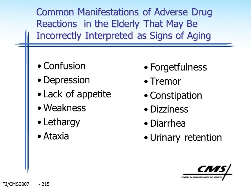 TJ/CMS2007 - 215 Common Manifestations of Adverse Drug Reactions in the Elderly That May Be Incorrectly Interpreted as Signs of Aging Confusion Depres