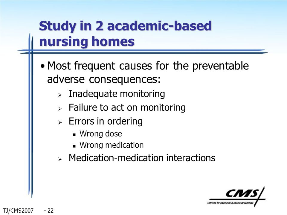 TJ/CMS2007 - 22 Study in 2 academic-based nursing homes Most frequent causes for the preventable adverse consequences: Inadequate monitoring Failure t