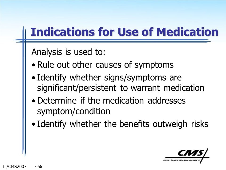 TJ/CMS2007 - 66 Indications for Use of Medication Analysis is used to: Rule out other causes of symptoms Identify whether signs/symptoms are significa