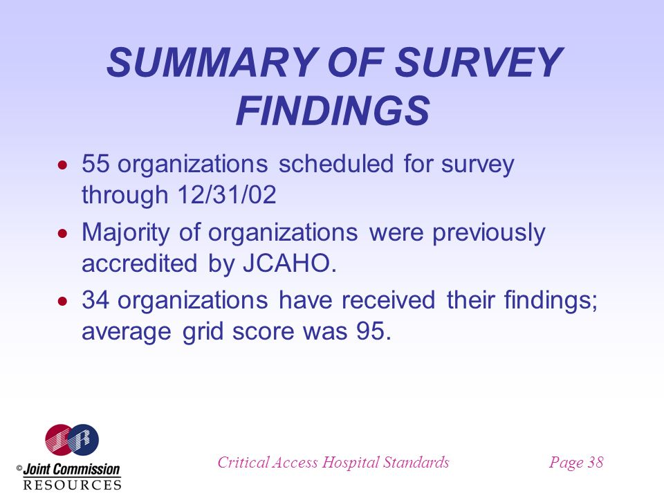 Critical Access Hospital StandardsPage 38 SUMMARY OF SURVEY FINDINGS 55 organizations scheduled for survey through 12/31/02 Majority of organizations were previously accredited by JCAHO.