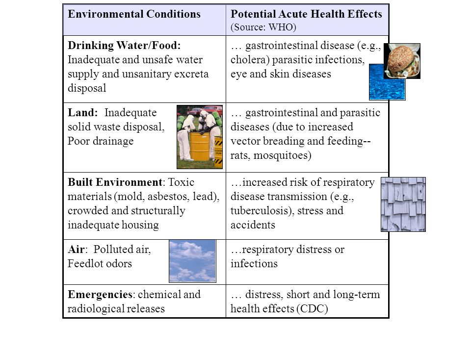 … distress, short and long-term health effects (CDC) Emergencies: chemical and radiological releases … gastrointestinal disease (e.g., cholera) parasitic infections, eye and skin diseases Drinking Water/Food: Inadequate and unsafe water supply and unsanitary excreta disposal Potential Acute Health Effects (Source: WHO) Environmental Conditions … gastrointestinal and parasitic diseases (due to increased vector breading and feeding-- rats, mosquitoes) Land: Inadequate solid waste disposal, Poor drainage …increased risk of respiratory disease transmission (e.g., tuberculosis), stress and accidents Built Environment: Toxic materials (mold, asbestos, lead), crowded and structurally inadequate housing …respiratory distress or infections Air: Polluted air, Feedlot odors