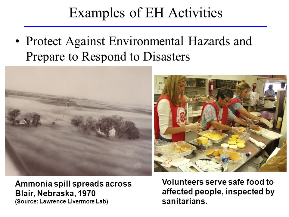 Examples of EH Activities Protect Against Environmental Hazards and Prepare to Respond to Disasters Ammonia spill spreads across Blair, Nebraska, 1970 (Source: Lawrence Livermore Lab) Volunteers serve safe food to affected people, inspected by sanitarians.