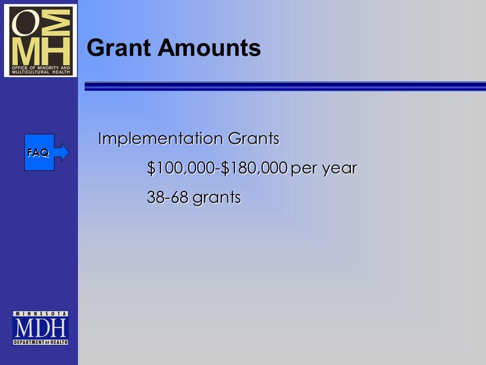 Grant Amounts Implementation Grants $100,000-$180,000 per year 38-68 grants FAQ