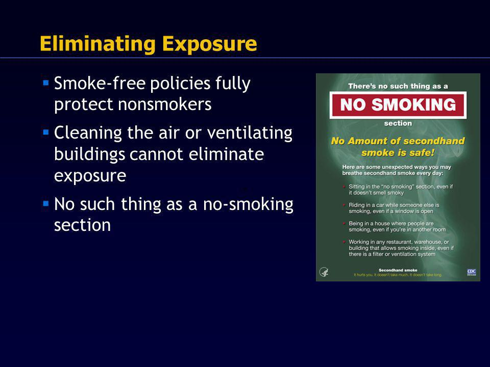 Smoke-free policies fully protect nonsmokers Cleaning the air or ventilating buildings cannot eliminate exposure No such thing as a no-smoking section