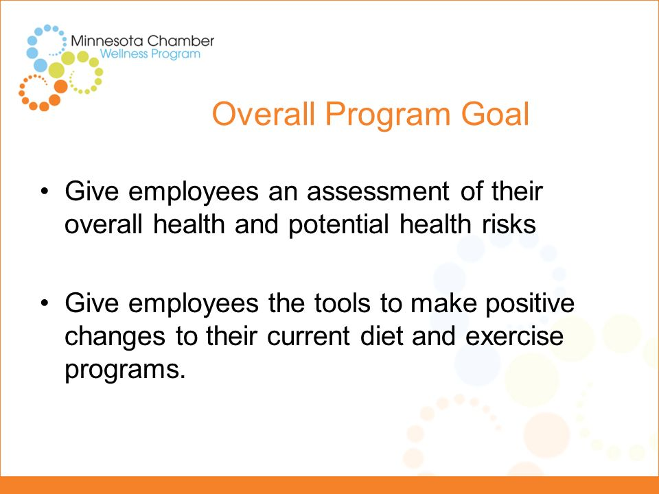 Employer Wellness Program Program Focus: -Two avenues – physical and nutrition -Provided materials -Pedometer -Workbook -Incentives -Pre-test