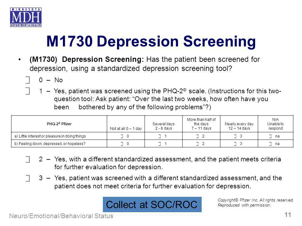 M1730 Depression Screening (M1730) Depression Screening: Has the patient been screened for depression, using a standardized depression screening tool?