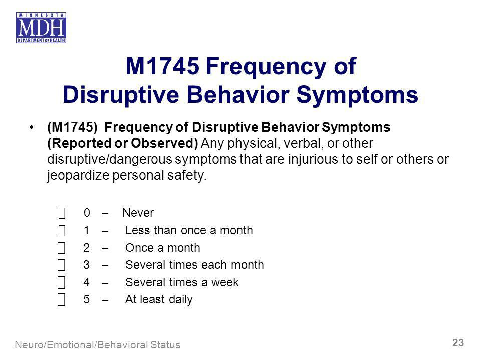 M1745 Frequency of Disruptive Behavior Symptoms (M1745) Frequency of Disruptive Behavior Symptoms (Reported or Observed) Any physical, verbal, or othe