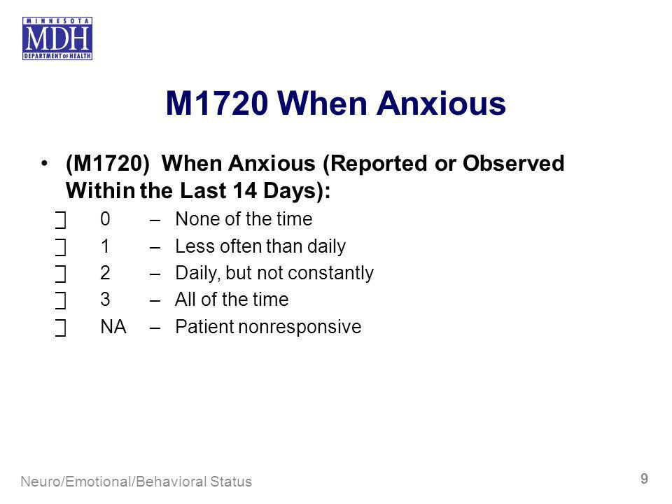 M1720 When Anxious (M1720) When Anxious (Reported or Observed Within the Last 14 Days): 0–None of the time 1–Less often than daily 2–Daily, but not co