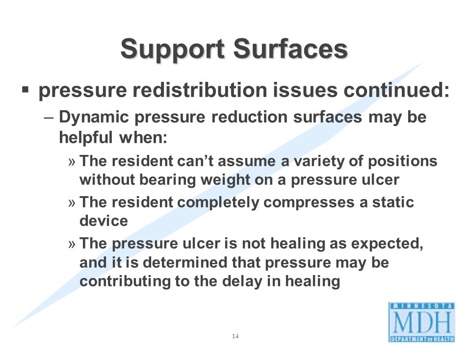14 Support Surfaces pressure redistribution issues continued: –Dynamic pressure reduction surfaces may be helpful when: »The resident cant assume a variety of positions without bearing weight on a pressure ulcer »The resident completely compresses a static device »The pressure ulcer is not healing as expected, and it is determined that pressure may be contributing to the delay in healing