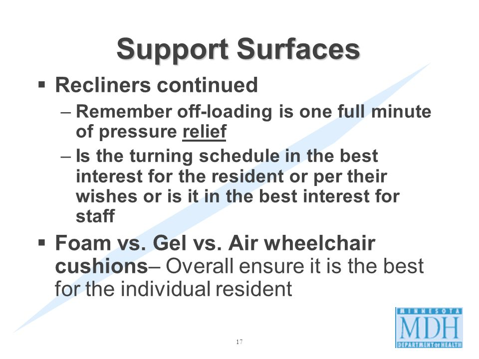 17 Support Surfaces Recliners continued –Remember off-loading is one full minute of pressure relief –Is the turning schedule in the best interest for the resident or per their wishes or is it in the best interest for staff Foam vs.