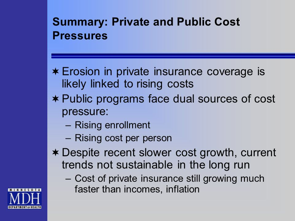 Summary: Private and Public Cost Pressures Erosion in private insurance coverage is likely linked to rising costs Public programs face dual sources of cost pressure: –Rising enrollment –Rising cost per person Despite recent slower cost growth, current trends not sustainable in the long run –Cost of private insurance still growing much faster than incomes, inflation