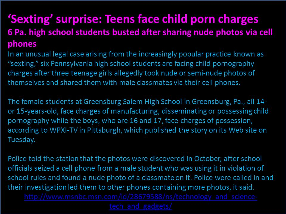 Sexting surprise: Teens face child porn charges 6 Pa.