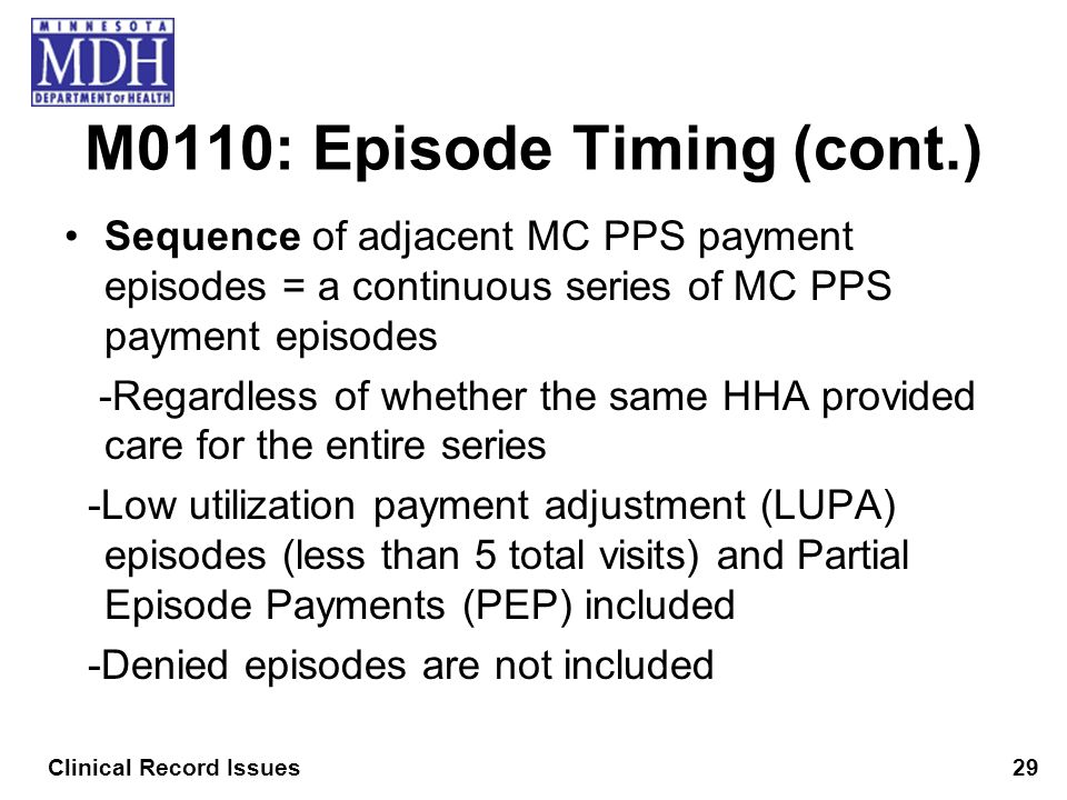 M0110: Episode Timing (cont.) Sequence of adjacent MC PPS payment episodes = a continuous series of MC PPS payment episodes -Regardless of whether the